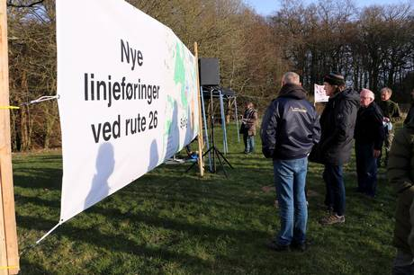 Foto fra demonstration mod den nye linjeføring. Foto: Wulff