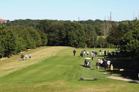 Det omlagte hul 16 på golfbanen i Grenaa skal deltagerne i den nye golfmatch prøve kræfter med.