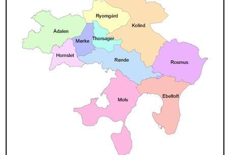 De ti skoledistrikter i Syddjurs Kommune
