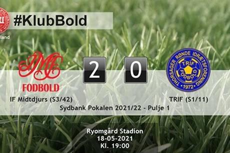 Topholdet i Serie 3, IF Midtdjurs, leverede en gedigen overraskelse i Sydbank Pokalen ved tirsdag aften at slå topholdet i Serie 1, TRIF, med 2-0 på Ryomgård Stadion