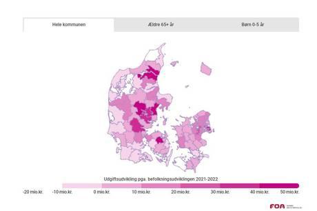 I Syddjurs skal der bruges 17,3 mio. kroner mere i 2022 grundet befolkningsudviklingen. for at opretholde status quo i forhold til velfærd. I Norddjurs er det modsat.