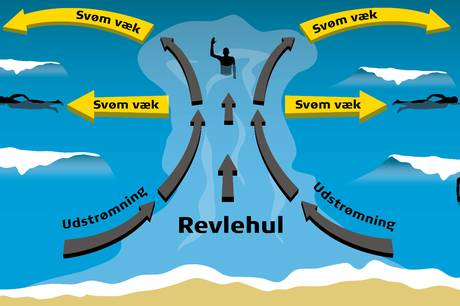Revlehuller skaber farlige situationer. Her viser en illustration fra Trygfonden, hvordan man redder sig ud af et revlehul.