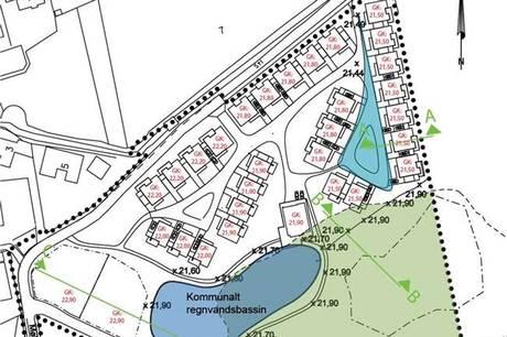 Tegning over området fra det fremlagte forslag til lokalplan.
