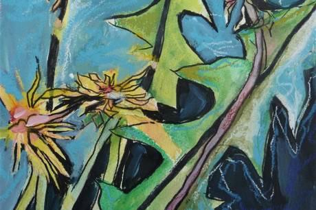 Et af Lone Ogstrups værker, der har titlen 'Bøtter i blæst'.