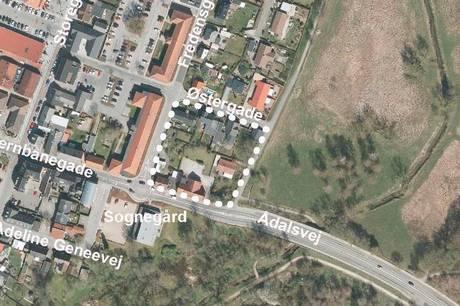 Etagebyggeri i Hinnerup med 75 almene boliger i området mellem Ådalsvej, Fredensgade og Østergade.